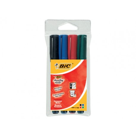Permanent marker BIC Pocket 1445 ass/pk4