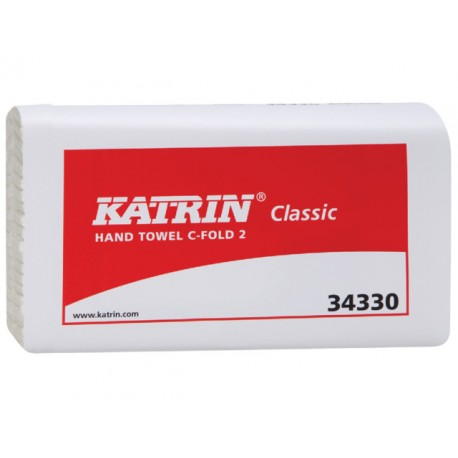 Handdoek Katrin 2-laags wit C/ds 24x125v
