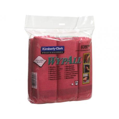 Schoonmaakdoek Wypall microvezel rd/pk 6