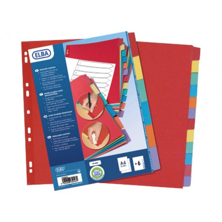 Tabblad ELBA A4 11R kart.kleurentab/set6
