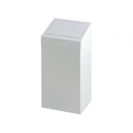 Afvalbak met pushklep 50L metaal wit