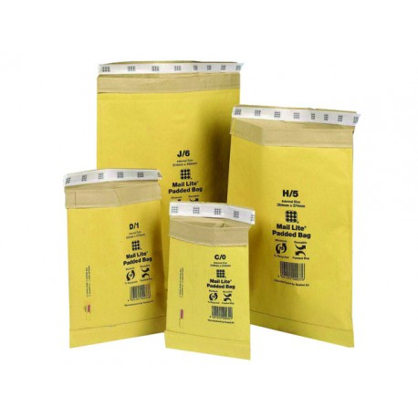 Padkraftenvelop MailLite H/5 goud/50