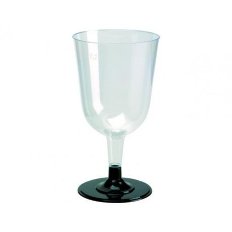 Wijnglas Duni zw voet transparant/pk12