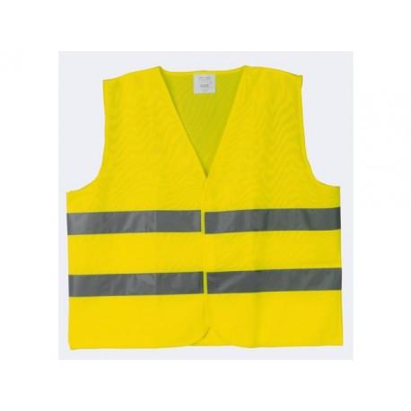 Veiligheidsvest met refl.strepen geel