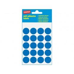 Etiket SPLS 19mm rond blauw/pk 100
