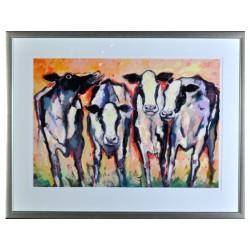 Zeefdruk Frits v.Eeden cows in giethoorn
