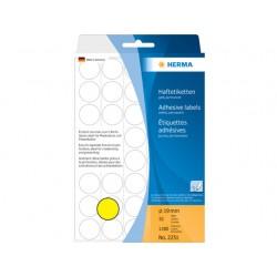 Etiket Herma 19mm rond geel/pak 1280