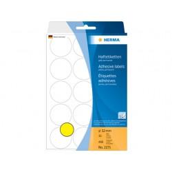 Etiket Herma 32mm rond geel/pak 480