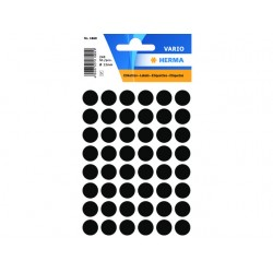 Etiket Herma 12mm rond zwart/pk 240
