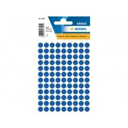 Etiket Herma 8mm rond donkerblauw/pk 540