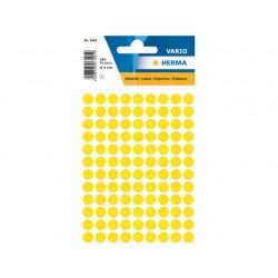 Etiket Herma 8mm rond geel/pk 540