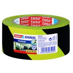 Markeringstape tesa PVC 50mmx66m zw/geel