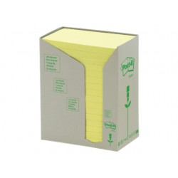 Notitieblok recycled 76x127mm geel/pak16