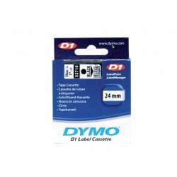 Tape Dymo d1 24mm zwart/transparant