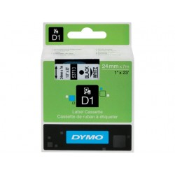 Tape Dymo d1 24mm zwart/wit