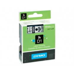 Tape Dymo 45800 19mm zwart/transparant