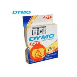 Tape Dymo 45010 12mm zwart/transparant