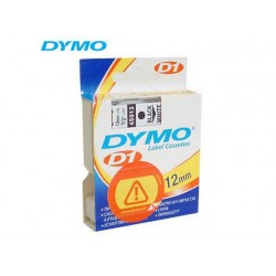 Tape Dymo D1 12mm 7m zwart/wit polyester