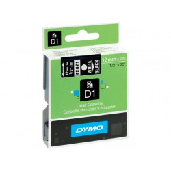 Tape Dymo 45021 12mm wit/zwart
