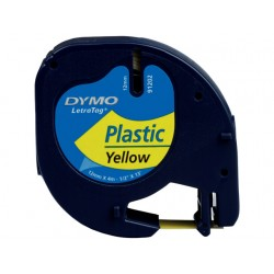 Tape Dymo Letra Tag 91202 12mm zwart/gl