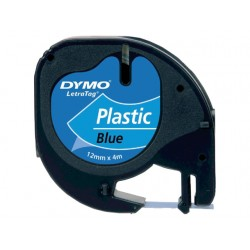 Tape Dymo Letra Tag 91205 12mm zwart/bl