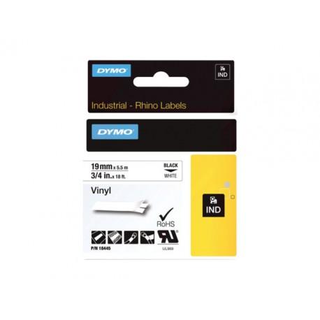 Tape Dymo Rhino 18445 vinyl 19mm zw/wit