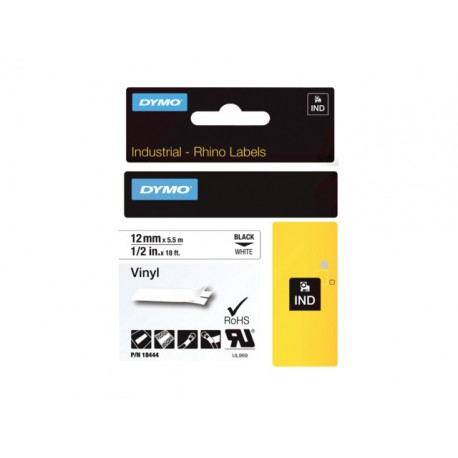 Tape Dymo Rhino vinyl 12mm zwart/wit